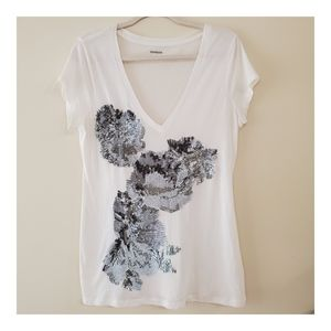Express White/Silver Sequin T-Shirt Size Large